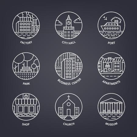 business buildings: Urban landscape design elements set in linear style, include line buildings, trees, port, park, houses, church, shop, business center, city hall factory vector illustration