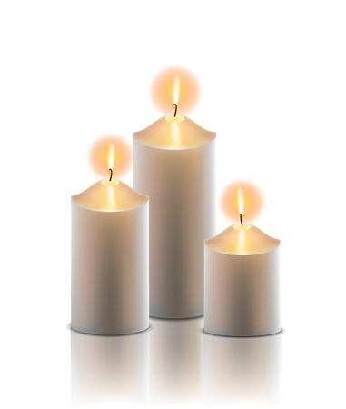 Vector realistic illustration. 3 Burning golden candle on white background isolated