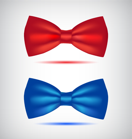 official wear: Vector set of realistic blue and red bow ties.
