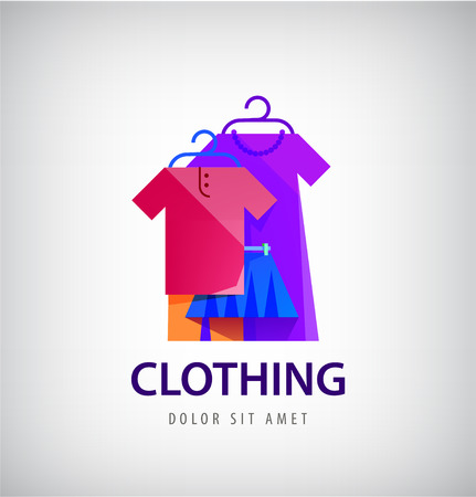 Vector clothing logo, online shop, fashion icon. Clothes hanging on the hangers illustration