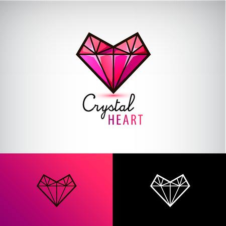 Vector chrystal heart icon, jewelry logo. Love, diamond identity