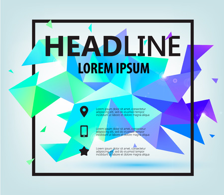 square shape: Vector Poster, Banner, Flyer, Cover, Brochure Template design. Modern crystal faceted 3d shape with text space and square