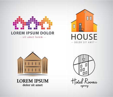 homestead: Vector set of house logos, hotel, apartment, real estate, building icons. Various styles