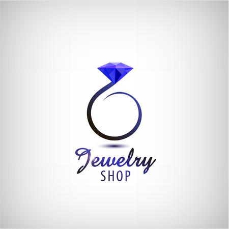 Vector Schmuck Logo-Design-Vorlage. Kreis Ring mit blauem Stein, Kristall. Hochzeitsring