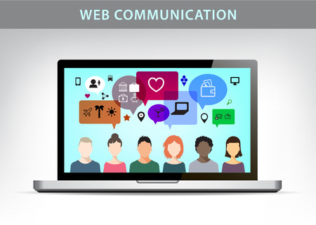 socializando: Vector web communication illustration, social net concept. People talking on different topics, realistic monitor of laptop