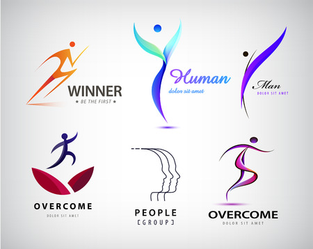 trend: Vector set of man logo, human body, stylized human. Leader, winner logo, business concept, overcome difficulties