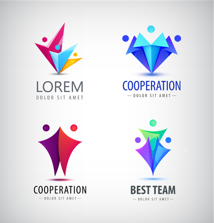 team group: Vector abstract stylized family, team lead icon, logo, sign isolated. Business, group of people, cooperation