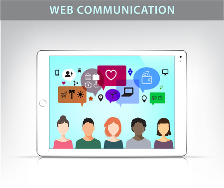 pc monitor: Vector web communication illustration, social net concept. People talking on different topics, realistic monitor of tablet pc Illustration