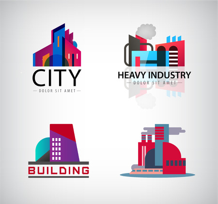 industry architecture: Vector set of colorful building logos, icons. Industry building, city, office, architecture factory logotypes