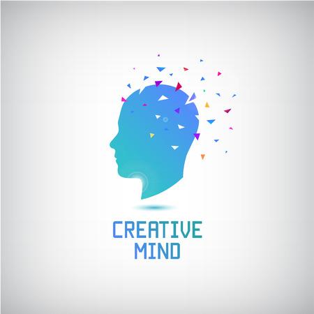 Vector mente creativa logotipo, silueta de la cabeza con pensamientos e ideas de salir. Abre tu mente. Ejemplo creativo de la inspiración y de motivación.