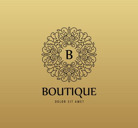 fashion label: Vector monogram luxury linear logo, company icon. Decorative frame for Restaurant Menu, Hotel, Jewelery, Fashion, Label, Sign, Banner Badge Illustration