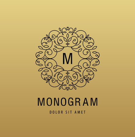 Vector monogram luxury linear logo, company icon. Decorative frame for Restaurant Menu, Hotel, Jewelery, Fashion, Label, Sign, Banner Badge