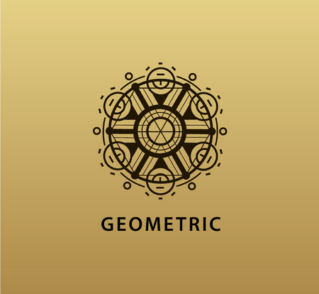 creativity symbol: Vector abstract geometric symbol. Linear alchemy, occult, philosophical sign. For poster, flyer, logo design. Astrology, imagination creativity superstition religion concept Golden background