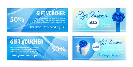 Voucher template with wavy background and blue bow ribbons. design usable for gift coupon, voucher, invitation, certificate, diploma, ticket etc. Vector illustration