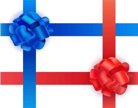 moños de navidad: Vector conjunto de brillantes de satén azul y rojo en cruz cintas y lazos en el fondo blanco. Ilustración realista. Navidad, Año Nuevo y otras fiestas presentan una decoración.