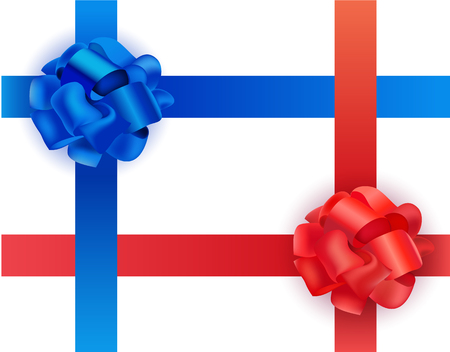 gift ribbon: Vector set of shiny blue and red satin crosswise ribbons and bows on white background. Realistic illustration. Christmas, New Year and other holidays present decor. Illustration