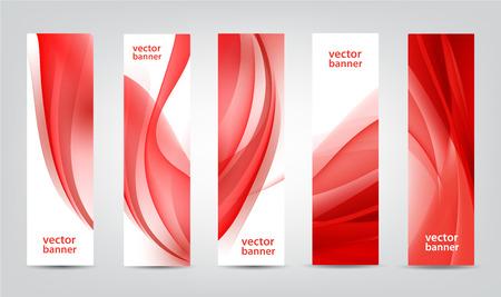 vector set: Vector set of red silk wavy vertical banners