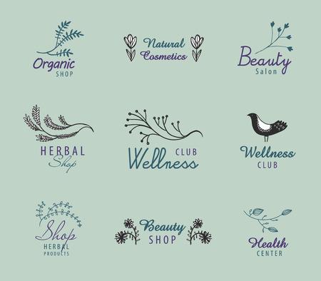 beauty shop: Vector set of hand drawn vintage logos with florals, bird. Organic shop, wellness club, beauty salon, herbal.