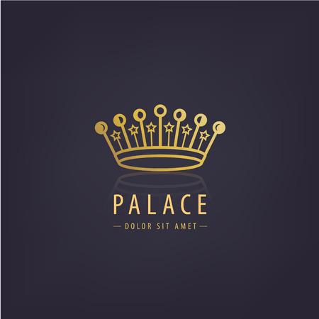 Vector golden crown linear logo.