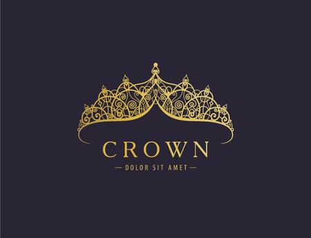 Abstracte luxe, koninklijke gouden logo pictogram vector ontwerp. Logo