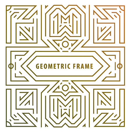 style geometric: Vector monogram design elements in trendy vintage and mono line style with space for text - abstract golden geometric frame, packaging template  luxury products. Illustration