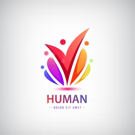 Vector logotipo humano, grupo de personas icono colorido, trabajo en equipo