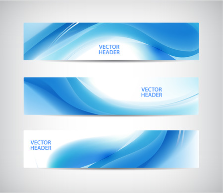 vector banners or headers: Vector set of abstract blue wavy headers, water flow banners. Illustration