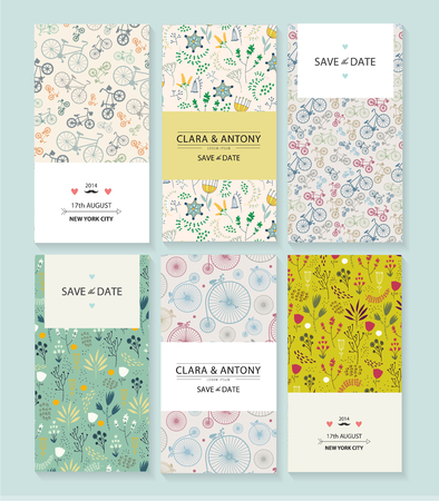 romantic: Vector set of vintage wedding invitations. Floral hand drawn background, retro bicycle romantic backdrop.