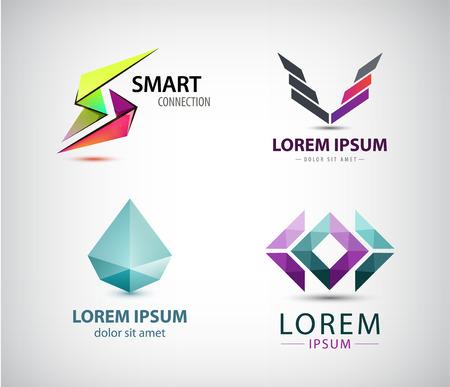 logos de empresas: Vector conjunto de logotipos abstractos, iconos de la empresa aislados.