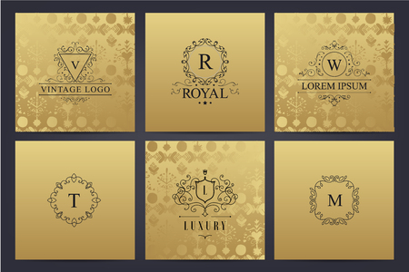 luxuries: Vector set of golden cards with luxury logos  letters.