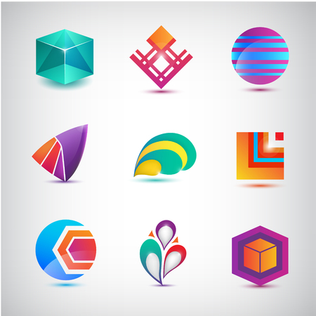 abstract business: Vector set of abstract  , icons. minimal elements for business identity. Stock Photo