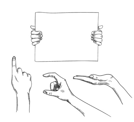 grasp: Vector set of hand-drawn holding, pointing hands illustration.