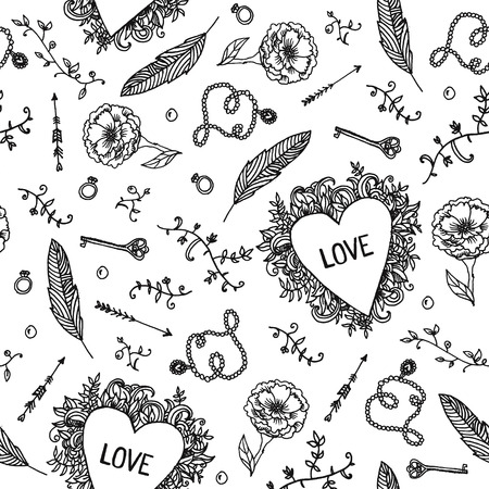 Vector vintage romantic hand drawn seamless pattern. Hearts, love, flowers, keys black and white background.
