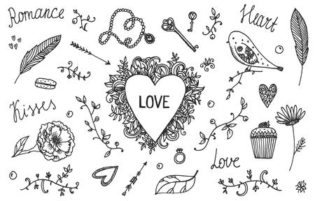 wedding day: Vector set of hand-drawn Wedding elements, Valentine s Day.   Ornamental Romantic Style . Illustration