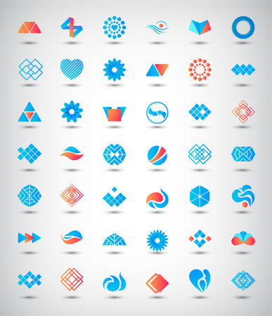 Vector set of 42 abstract logos, icons
