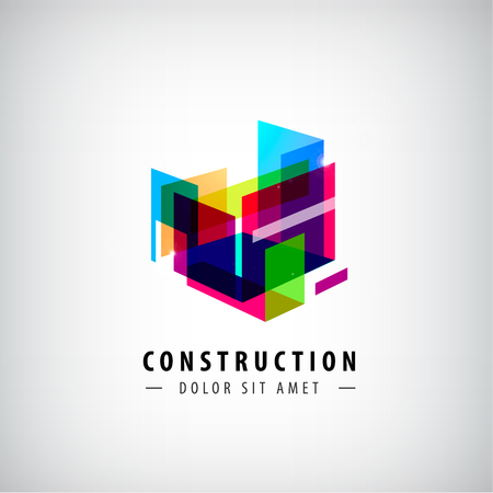 architecture: Vector abstract geometric construction, structure logo. Colorful 3d architecture