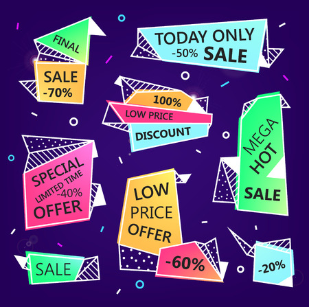 low price: Vector set of sale origami outline banners with textures. Low price offer, mega hot Illustration