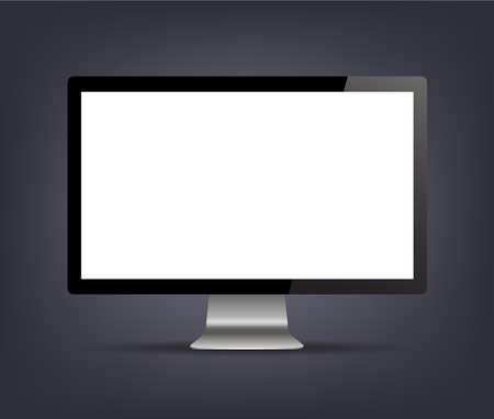 presentation screen: Vector computer monitor display isolated. Realistic screen illustration isolated on black background. Use for ad, web site presentation Stock Photo