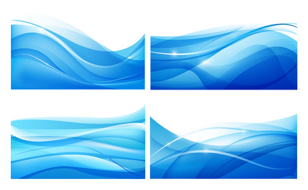Vector set of abstract blue wavy background. Water, flow.