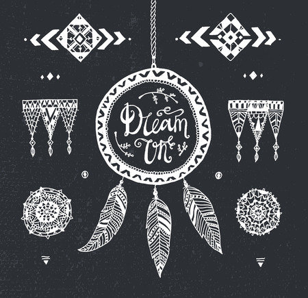 decorative patterns: Vector Hand drawn tribal patterns with stroke, line, decorative elements, feathers. Illustration