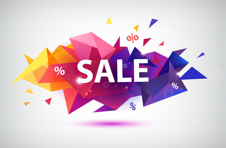 Vector sale faceted 3d banner, poster.