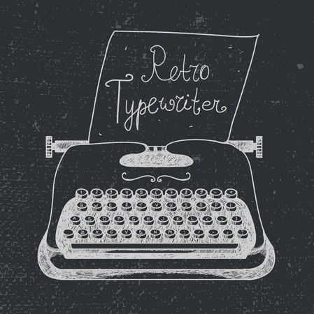 Vector hand drawn doodle retro black ans white typewriter with paper.