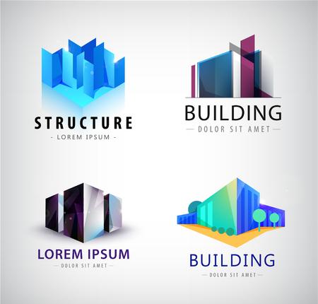 logos de empresas: Vector conjunto de logotipos de construcción, los iconos de la empresa.