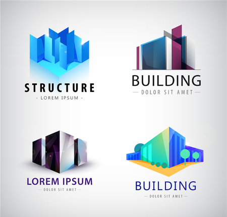 Vector set of building logos, company icons.