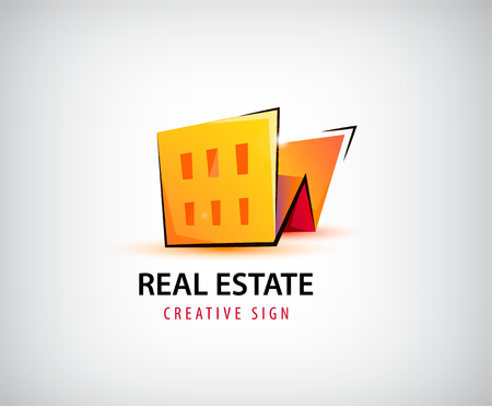 building estate: A Vector 3d real estate, building, house logo isolated.