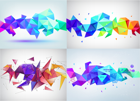 Vector Set Of Faceted 3d Crystal Colorful Shapes Banners Faceted