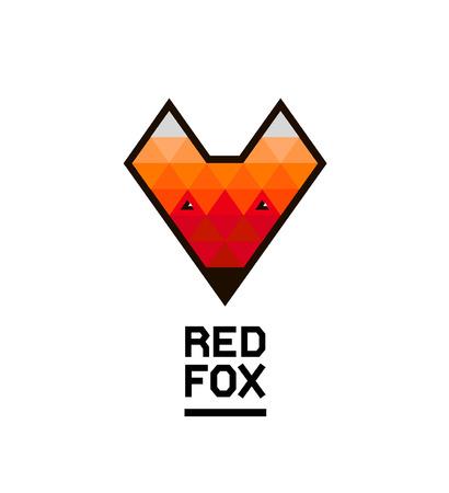 animal silhouette: Vector faceted geometric fox logo.