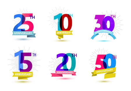 Vector set of anniversary numbers design. 25, 10, 30, 15, 20, 50 icons, compositions with ribbons. Colorful transparent with shadows on white background isolated. Illustration