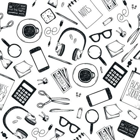 moleskin: Vector set of hand drawn office tools. Freelance, tools for making business online, entrepreneur. Mock up, top view. Illustration