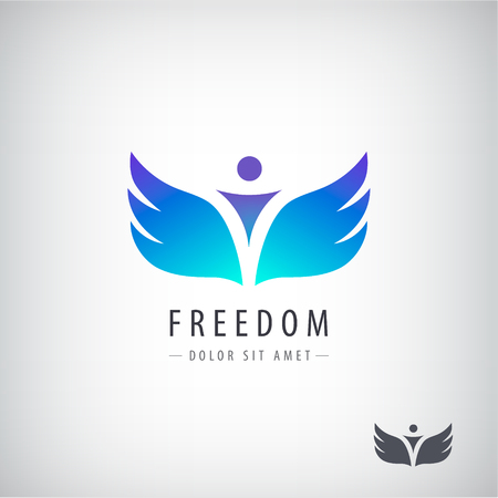 Vector freedom logo, concept. Man with wings Stock Vector - 79639429